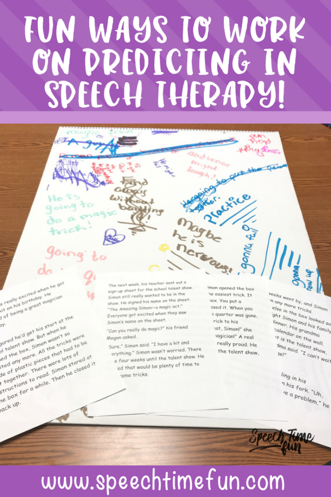 Predicting is one of many speech and language skills SLPs target in speech therapy, but it can be tricky to come up with ways to teach it. In this blog post, I'm sharing several different ideas for working on predicting in speech therapy - and all of my suggestions are fun and engaging for kids! Click through to read.