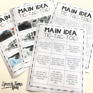 main idea tic-tac-toe: main idea freebie for speech therapy