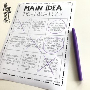 main idea tic-tac-toe: main idea at the sentence level for speech therapy