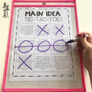 main idea tic-tac-toe: main idea at the paragraph level for speech therapy