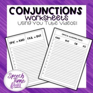Conjunctions Worksheets Using You Tube Videos Freebie for Speech Therapy